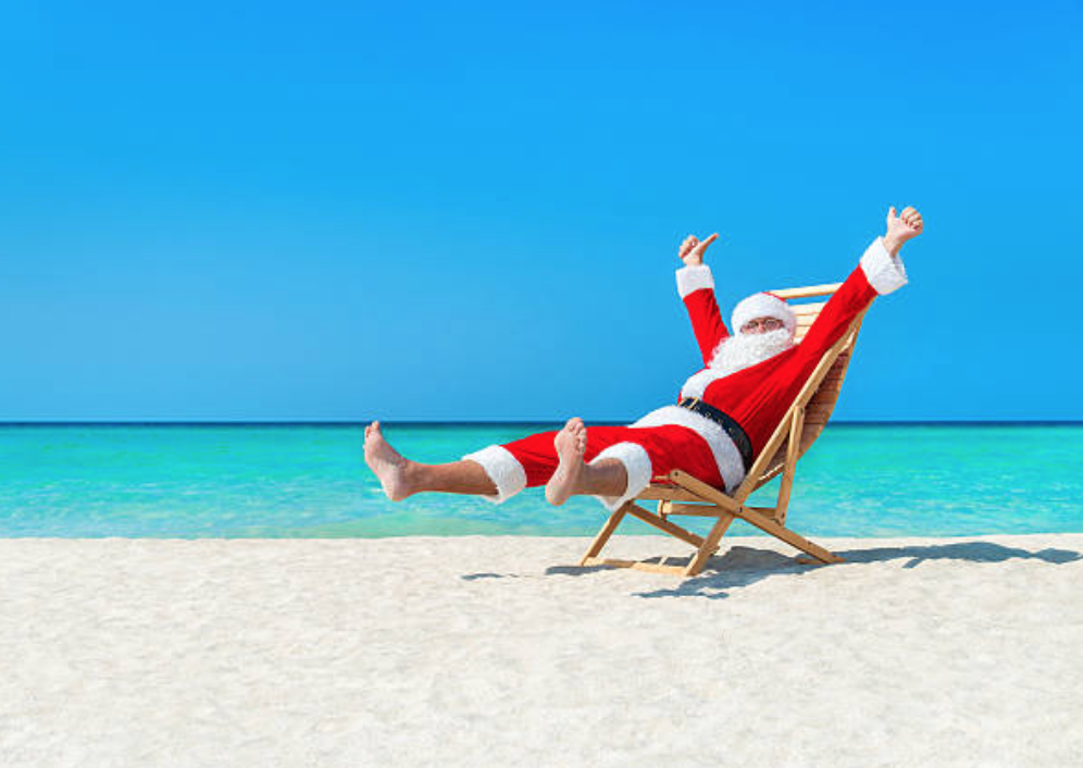 Santa Claus on Exuma Beach